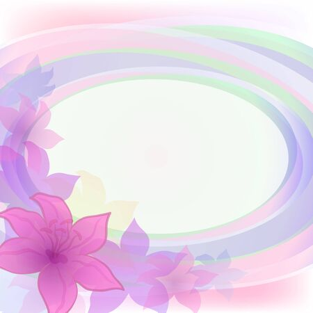 Abstract holiday background with symbolical flowers and frame   Vector