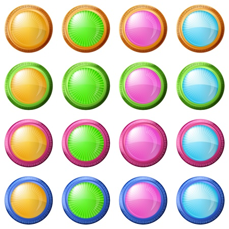 Buttons collection, round glossy blank web elements of various colors photo