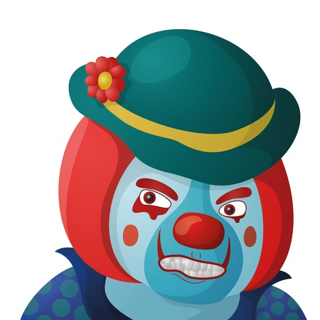 Evil clown, cartoon character in a bright suit and sinister makeup, isolated on white background  Vector Vector