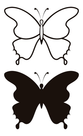 Butterfly black silhouettes with opened wings