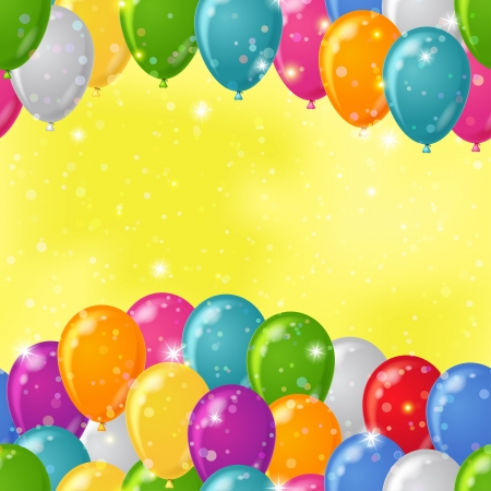 Holiday background seamless with various color balloons on yellow Stock Vector - 14122459