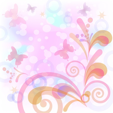 Abstract pink background with symbolical butterflies and figures Vector