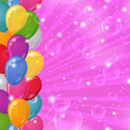 Holiday background, various balloons on lilac with rays and bubbles Vector