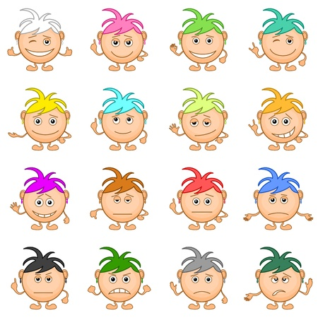 Set of smilies girls with colored hair, symbolising various human emotions. Stock Vector - 14122449