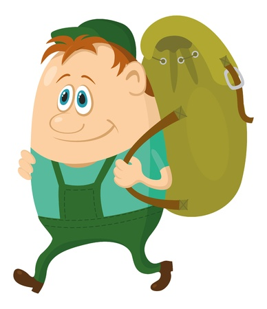 Tourist, cartoon character, hiker with a backpack going on vacation Vector