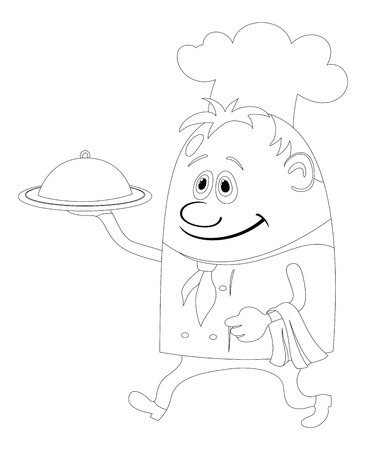 Cook, cartoon chef with closed salver isolated, black contour on white background