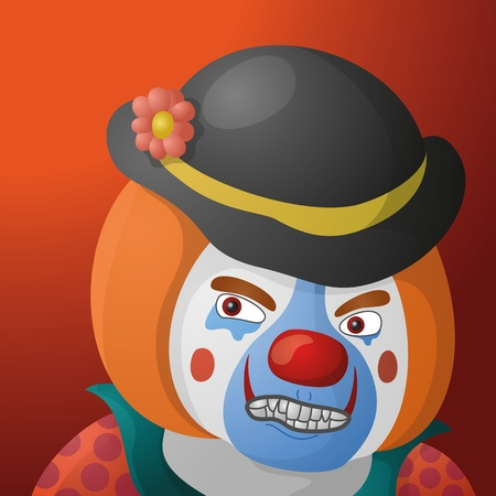 Evil clown, cartoon character in a bright suit and sinister makeup on orange background Vector