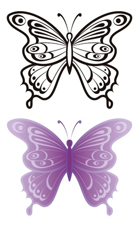 Butterflies with open wings, black contour and monochrome lilac, isolated on white background Stock Vector - 14122496