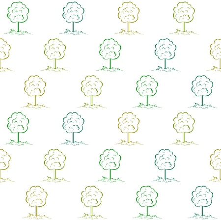 Symbolical seamless background, green trees in forest or park Vector