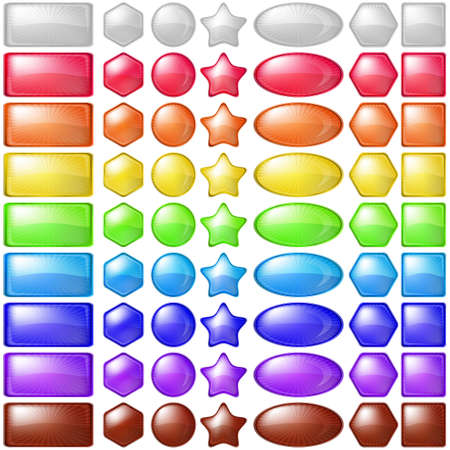 Set multi-coloured icons, buttons different forms photo