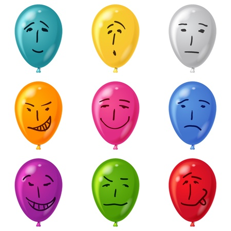 Set of smilies, drawn on balloons with childs hand, symbolising various human emotions  Vector eps10, contains transparencies Vector