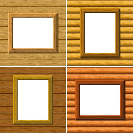 Empty wooden frames on a board wall with white place background for your images Vector