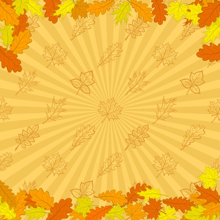 Autumn background - leaves red, orange and yellow on background with rays Vector