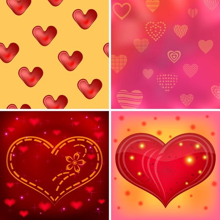 Set of valentine backgrounds with red hearts, symbolical love signs. Stock Vector - 14324186