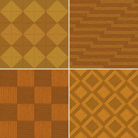 Wooden brown parquets, square seamless backgrounds, set photo