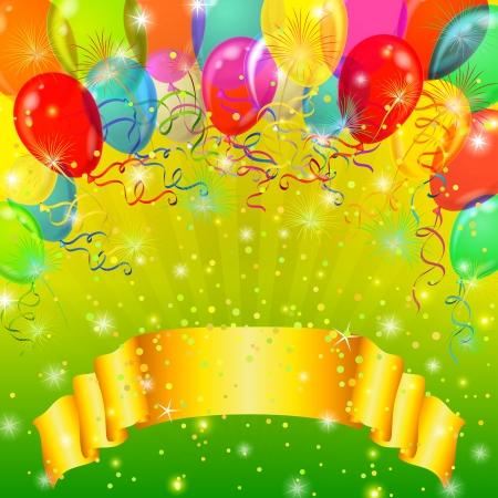 Vacanza sfondo con banner, palloncini di vario colore, fuochi d'artificio e coriandoli sul verde. Archivio Fotografico - 14324192