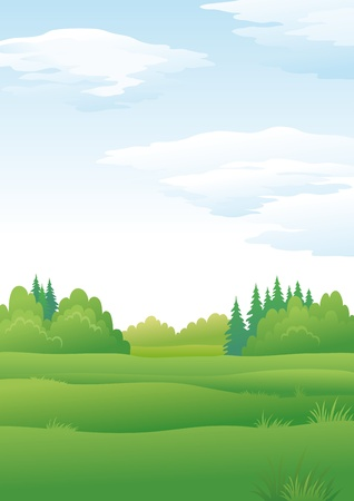 Background landscape, summer green forest and blue sky with clouds Stock Vector - 14324194