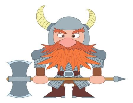enano: Enano, pelirroja guerrero con armadura y casco de pie con hacha de batalla, el personaje de historietas de dibujos animados divertidos