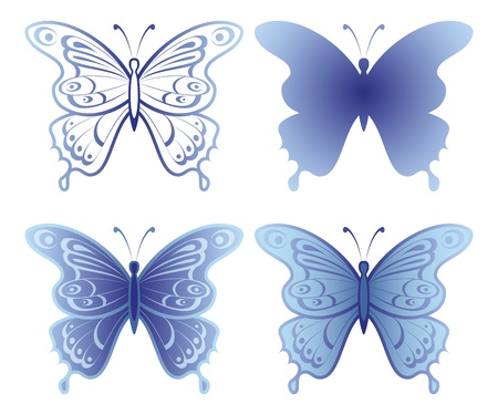 Butterflies with open wings, set, blue monochrome and silhouette, isolated on white background  Vector