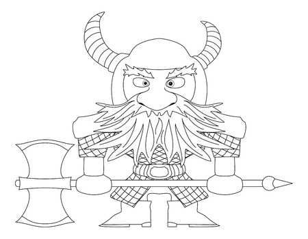 Dwarf warrior in armor and helmet standing with battle ax, funny comic cartoon character Vector