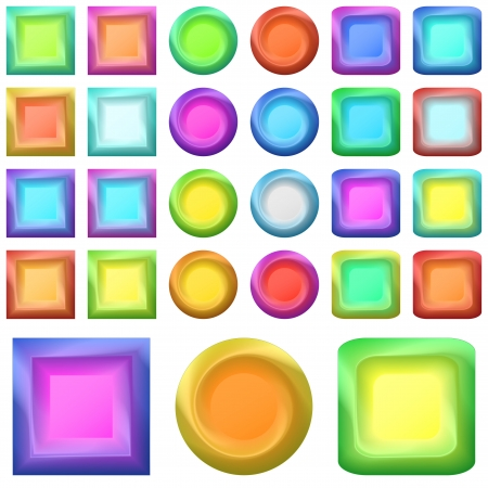 Set icons, isolated variegated round and square buttons   Vector