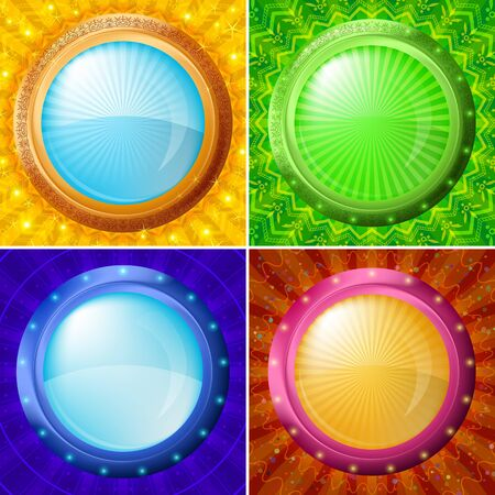 portholes: Abstract background set, round buttons portholes on glossy color pattern Stock Photo