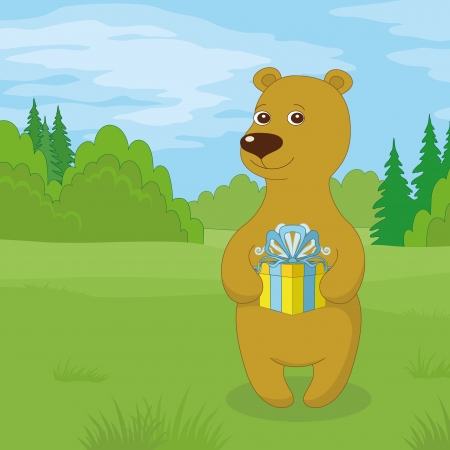 green day baby blue background: Toy teddy bear standing in forest on meadow with gift box in paws  Vector Illustration