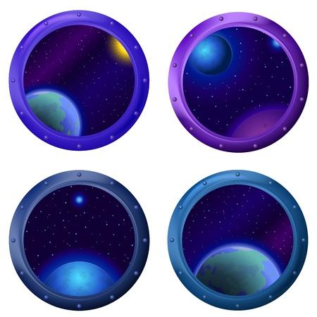 ventana ojo de buey: Espacio fant�stico fondo, ojo de buey ventana redonda nave espacial con estrellas y planetas.