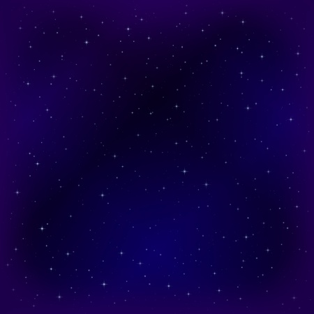 Space background with dark blue sky and stars. Vector