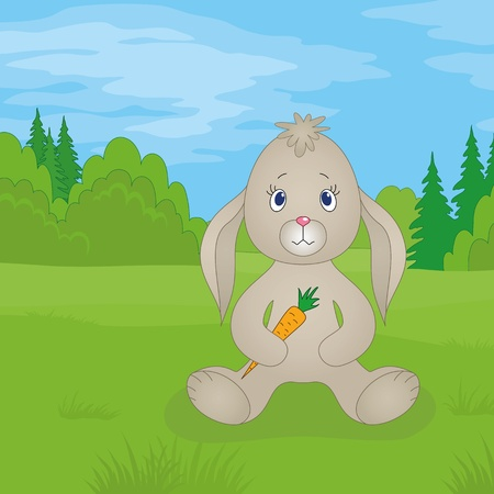 Rabbit siting on a meadow in summer forest and holding carrot in paws Vector