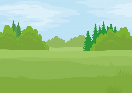 Background landscape, summer green forest and blue sky with clouds