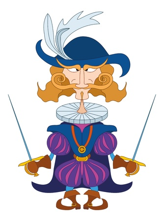 Fantasy hero, brave count fencer standing with two swords and stern look, funny comic cartoon character  Vector