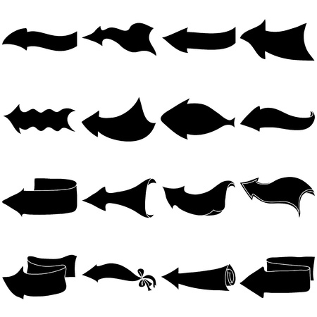 Set of black arrows silhouettes with different shapes on a white background Stock Vector - 14522515