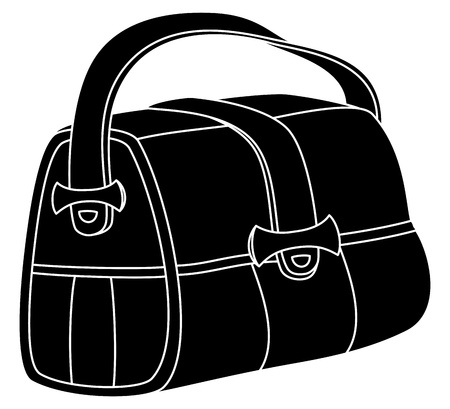 Leather bag with wide belts and fasteners, black silhouette