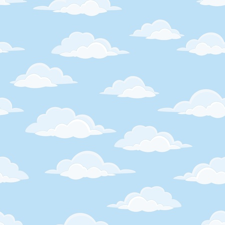 Cloudscape seamless background, white clouds on blue sky  Vector Vettoriali