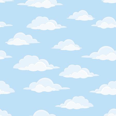 clouds cartoon: Paisaje con nubes de fondo sin fisuras, las nubes blancas en cielo azul Vector Vectores