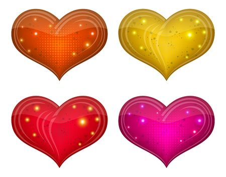 Valentine hearts, holiday set of beautiful love symbol icons   Vector