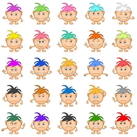 Set of smilies girls with colored hair, symbolising various human emotions   Vector