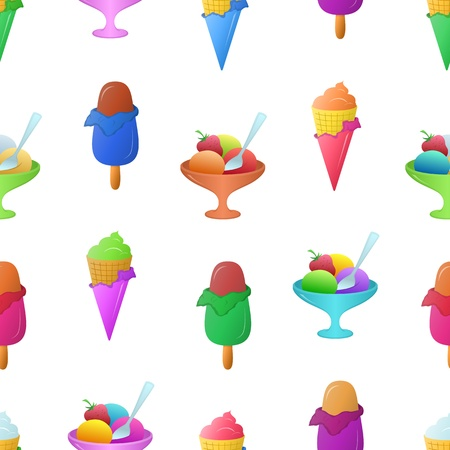 Ice cream tasty dessert of various colors, isolated on white background, seamless   Vector
