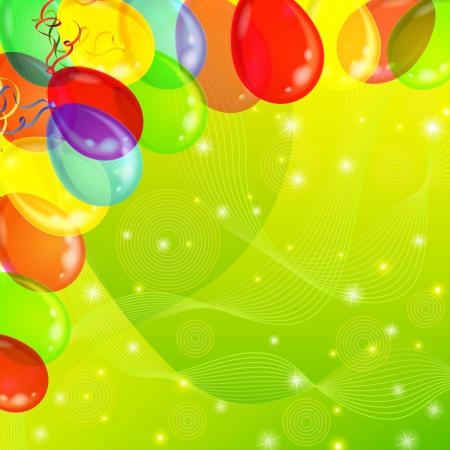Holiday background with various color balloons, sparks and serpentine on green  , contains transparencies