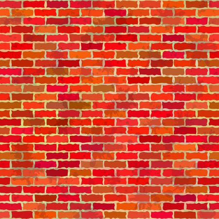 Brick red and orange grunge wall Vector