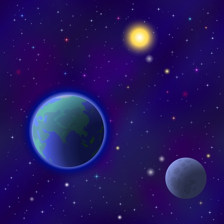 Space background seamless - planet Earth, moon, sun and stars   Vector