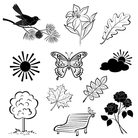 Set of various summer nature objects, black silhouettes isolated on white background  Vector Vector