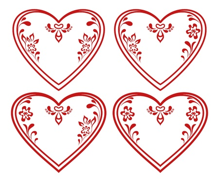 Valentine red hearts set, symbol of love, pictograms with abstract floral patterns  Vector Stock Vector - 14705090