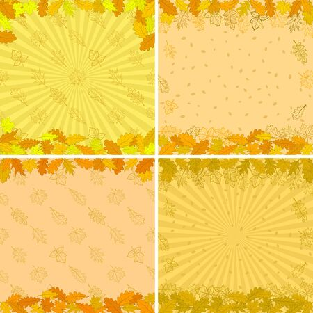 Autumn backgrounds set with various leaves brown, orange and yellow  Vector Vector