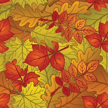 Autumn seamless nature background with leaves of different plants, red, orange and yellow  Vector Vector