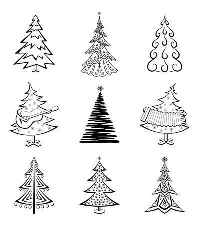 isolado no branco: Árvores de Natal set, pictograma preto isolado no fundo branco, feriado de inverno símbolos Vector