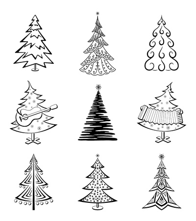 tree outline: Christmas trees set, black pictogram isolated on white background, winter holiday symbols  Vector Illustration