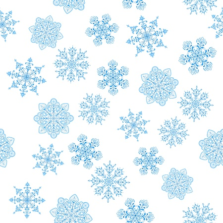 Snowflakes seamless, christmas nature background, isolated  Vector Vector