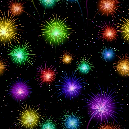 Firework background seamless of various colors on dark night sky  Wallpaper pattern for holiday web design  Vector Vector